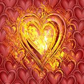 Serce w ogniu — Zdjęcie stockowe