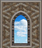 Gothic or scifi window with blue sky — Стоковое фото