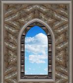 Okno gotické nebo scifi s modrou oblohou — Stock fotografie