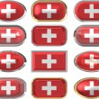 Royalty-Free Stock Photo: 12 buttons of the Flag of Switzerland