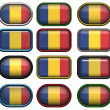 Twelve buttons of the Flag of Romania — Stock Photo