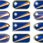 doze botões da bandeira das Ilhas marshall — Fotografia Stock  #1865959