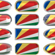 Twelve buttons of the Flag of the Seychelles — Stock Photo