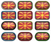 12 buttons of the Flag of Macedonia — Stock Photo