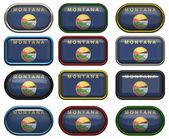 12 przycisków flaga stanowa montany — Zdjęcie stockowe