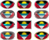 Twelve buttons of the Flag of antigua barbuda — Stock Photo
