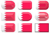 Nine glass buttons of the Flag of Bahrain — Stock Photo