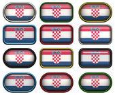 12 przycisków Flaga Chorwacji — Zdjęcie stockowe