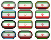 Twelve buttons of the Flag of Iran — Stock Photo