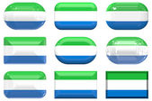 Nine glass buttons of the Flag of Sierra Leone — Stock Photo