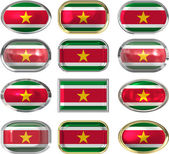 Twelve buttons of the Flag of Suriname — Stock Photo