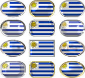 Twelve buttons of the Flag of Uruguay — Stock Photo