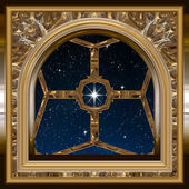 Gothic or science fiction window looking into starry night sky — Stock Photo