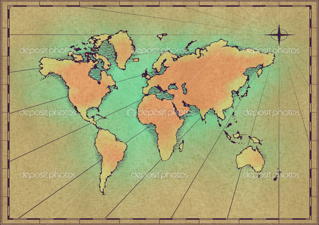 An old world map drawn onto parchment paper — Stock Photo #1866081