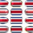 Stock Photo: Twelve buttons of Flag of CostRica