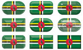 Buttons of the Flag of Dominica — Stock Photo