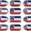 Royalty-Free Stock Photo: 12 buttons of the Flag of Mississippi