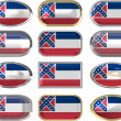 12 buttons of the Flag of Mississippi — Stock Photo