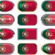 12 buttons of the Flag of Portugal - Stock Photo