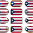 12 buttons of the Flag of Puerto Rico - Stock Photo