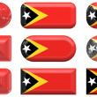 Nine glass buttons of the  Flag of East Timor — Stock Photo