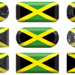 Stock Photo: Nine glass buttons of Flag of Jamaica