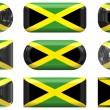 Nine glass buttons of the Flag of Jamaica — Stock Photo