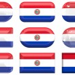 Nine glass buttons of the Flag of Paraguay — Stock Photo