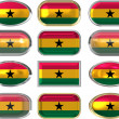 Twelve buttons of the Flag of Ghana — Stock Photo