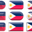 Nine glass buttons of the Flag of Philippines — Stock Photo