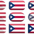 Nine glass buttons of the Flag of Puerto Rico — Stock Photo