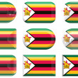 Buttons of the  Flag of Zimbabwe — Stock Photo