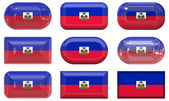Nine glass buttons of the Flag of Haiti — Stock Photo