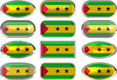 Twelve buttons of the Flag of Sao Tome and Princ — Stock Photo
