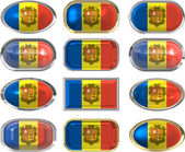 Twelve buttons of the Flag of andorra — Stock Photo