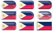 Negen glas knoppen van de vlag van filipijnen — Stockfoto