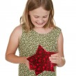 Girl child with present — Stock Photo