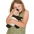 Girl hugging her teddy bear — Stock Photo #1972966