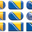Nine glass buttons of the Flag of Bosnia - Stock Photo