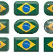 Nine glass buttons of the Flag of Brazil — Stock Photo