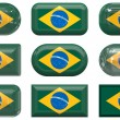 Stock Photo: Nine glass buttons of the Flag of Brazil
