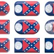 Nine glass Flag of Georgia buttons — Stock Photo
