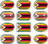 12 buttons of the Flag of Zimbabwe — Stock Photo