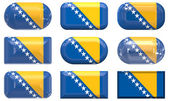 Nine glass buttons of the Flag of Bosnia — Zdjęcie stockowe