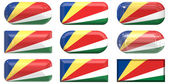Nine glass Flag of Seychelles buttons — Stock Photo