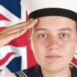 Stock Photo: Young sailor saluting