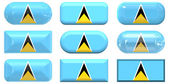 Nine glass buttons of the Flag of Saint Lucia — Stock Photo