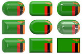 Nine glass buttons of the Flag of Zambia — Stock Photo