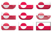 Nine glass buttons of the Flag of Greenland — Stock Photo