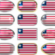 Stock Photo: 12 buttons of Flag of Liberia